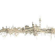 Berlin Germany Skyline Sheet Music Cityscape Photographic Print