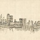 Sydney Australia Skyline Sheet Music Cityscape by Michael Tompsett