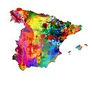 Spain Watercolor Map by Michael Tompsett