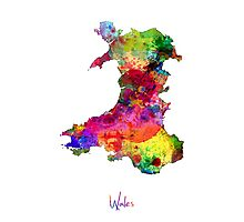 Wales Watercolor Map Photographic Print