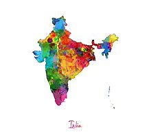 India Watercolor Map Photographic Print