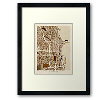 Chicago City Street Map Framed Print
