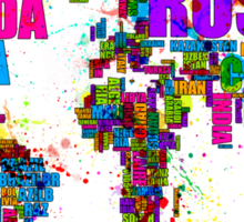 Paint Splashes Text Map of the World Sticker