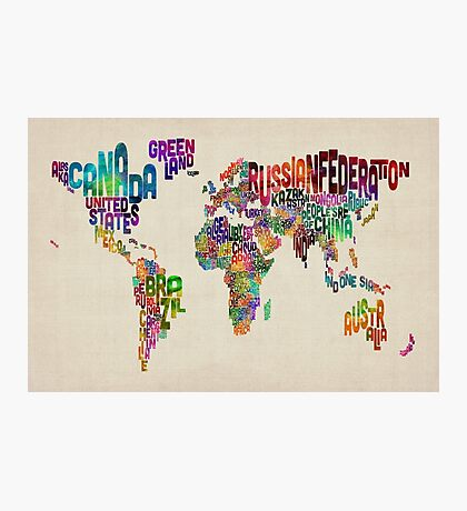 Text Map of the World Photographic Print