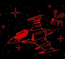Galaga red and black  by C-Hooper96