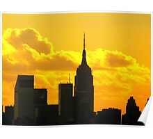 Yellow sunset silhouette, New York City  Poster