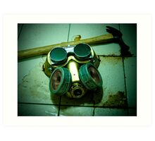 Dark Steampunk Gas Mask and Goggles Art Print