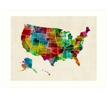 United States Watercolor Map Art Print
