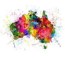 Australia Paint Splashes Map Photographic Print