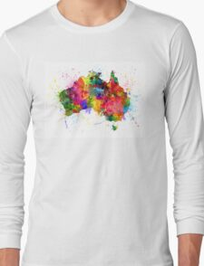 Australia Paint Splashes Map Long Sleeve T-Shirt