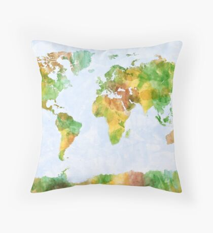 Map of the World Watercolour Throw Pillow