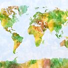 Map of the World Watercolour by Michael Tompsett