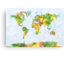Map of the World Watercolour Canvas Print