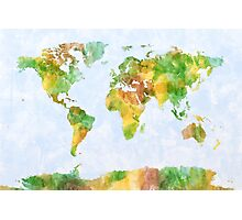 Map of the World Watercolour Photographic Print