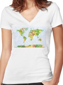 Map of the World Watercolour Women's Fitted V-Neck T-Shirt
