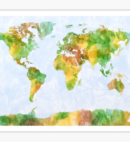 Map of the World Watercolour Sticker