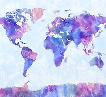 Map of the World Map Watercolor Painting by Michael Tompsett