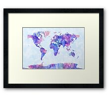 Map of the World Map Watercolor Painting Framed Print