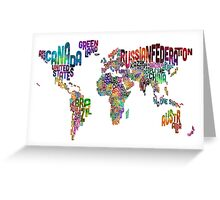 Text Map of the World Greeting Card