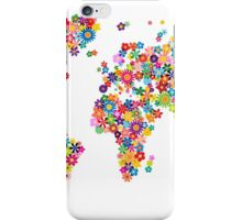 Flowers Map of the World Map iPhone Case/Skin