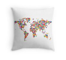 Flowers Map of the World Map Throw Pillow