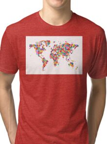 Flowers Map of the World Map Tri-blend T-Shirt