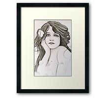 Pretty Edwardian Girl Sketch Framed Print