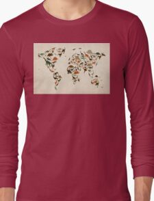 Dinosaur Map of the World Map Long Sleeve T-Shirt
