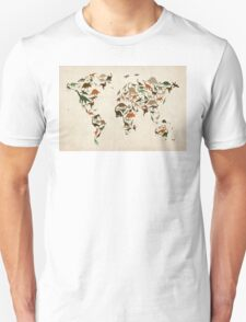Dinosaur Map of the World Map Unisex T-Shirt