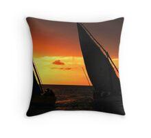 Fishing Boats At Sunset Throw Pillow