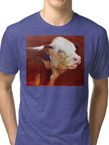 Fillion, ( cow ) from original oil painting by Madeleine Kelly Tri-blend T-Shirt