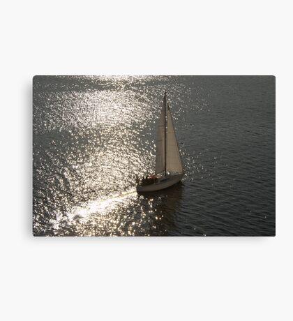 Yacht At Dusk Canvas Print