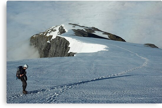 Climber on French Ridge, Mt Aspiring NP, New Zealand by Hugh Chaffey-Millar