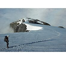 Climber on French Ridge, Mt Aspiring NP, New Zealand Photographic Print
