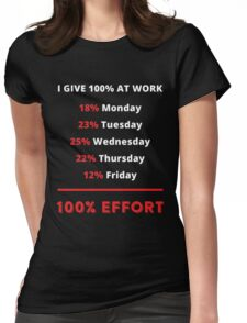 I Give 100% At Work 18% Monday 23% Tuesday 25% Wednesday 22% Thursday 12% Friday 100% Effort Womens Fitted T-Shirt