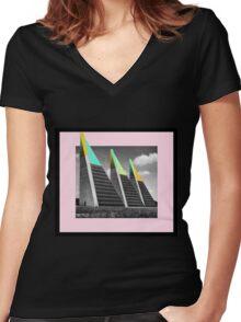 THREE BLOCKS. Women's Fitted V-Neck T-Shirt