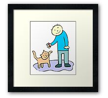 Boy Playing With Cat Framed Print