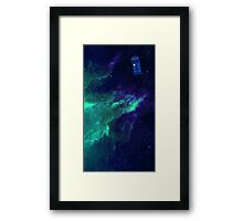 TARDIS flying through space Framed Print
