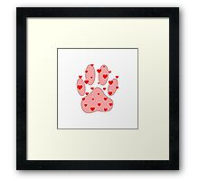 Pink Paw With Red Hearts Framed Print