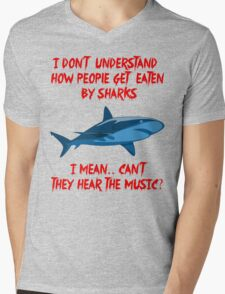 Sharks - Hear The Music Mens V-Neck T-Shirt
