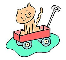 Cat In Wagon Photographic Print