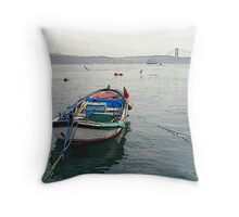 Rowboat in Bosphorus Throw Pillow