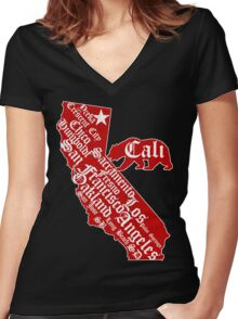 California State Bear (vintage distressed look) Women's Fitted V-Neck T-Shirt