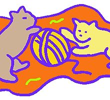 Cats Playing With Yarn by kwg2200