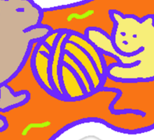 Cats Playing With Yarn Sticker