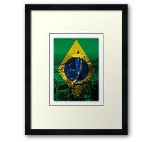 Brazil flag plus scenery Framed Print