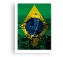 Brazil flag plus scenery Canvas Print