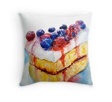 Delicious....Lucious Layer Cake with Berries and Whipped Cream Throw Pillow
