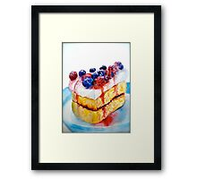 Delicious....Lucious Layer Cake with Berries and Whipped Cream Framed Print