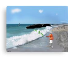 Corky's throwing a bottle to the sea Canvas Print